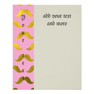 "Hipster,cute,mustache,gold,pink,pattern,fun,trendy 4.5"" X 5.6"" Flyer"
