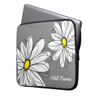 Hipster Daisy Drawing - gray yellow Laptop Sleeve