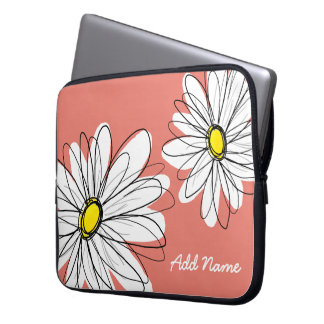 Hipster Daisy Drawing in trendy colors - coral Laptop Sleeves