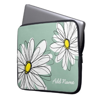 Hipster Daisy Drawing in trendy colors Laptop Sleeves