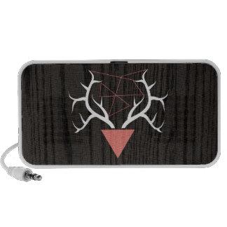 Hipster Deer Antlers Over Woodgrain Travel Speakers