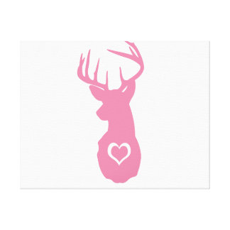 HIPSTER DEER HEAD WITH HEARTS CANVAS PRINT