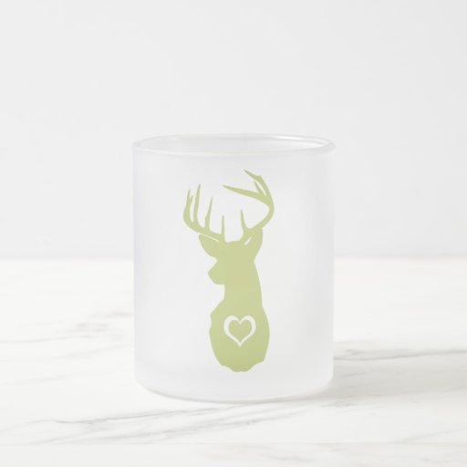 HIPSTER DEER HEAD WITH HEARTS MUGS