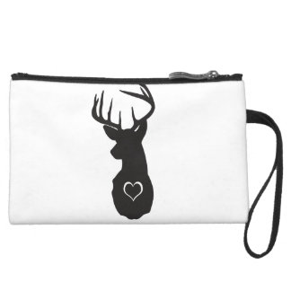 Hipster Deer Head with Hearts Wristlet Clutch