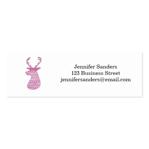 HIPSTER DEER TRIBAL PRINT - PINK BUSINESS CARD