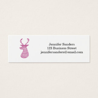 HIPSTER DEER TRIBAL PRINT - PINK MINI BUSINESS CARD