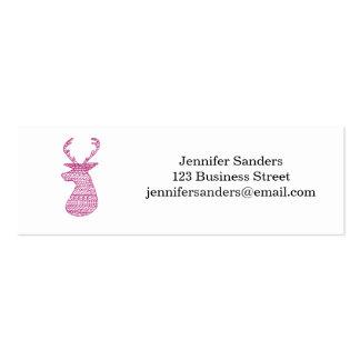 HIPSTER DEER TRIBAL PRINT - PINK PACK OF SKINNY BUSINESS CARDS