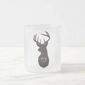 HIPSTER DEER WITH HEARTS FROSTED GLASS MUG