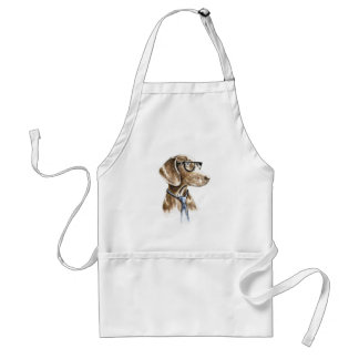 Hipster Dog With Glasses and Necktie Portrait Standard Apron