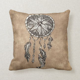 Hipster dreamcatcher feathers vintage paper cushion