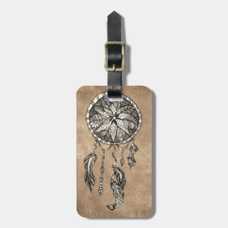 Hipster dreamcatcher feathers vintage paper luggage tag