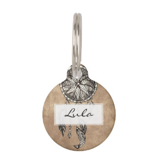 Hipster dreamcatcher feathers vintage paper pet name tag