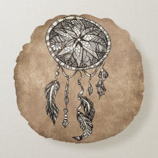 Hipster dreamcatcher feathers vintage paper round cushion