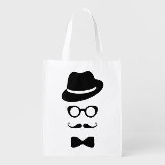 Hipster Face Reusable Bag