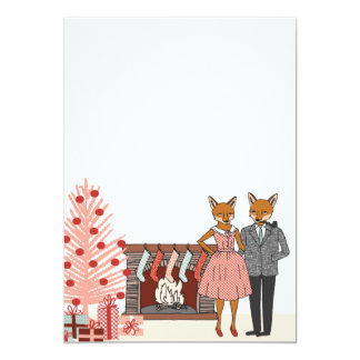 Hipster Fox Couple at Home Holiday Invite