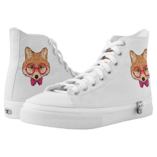 Hipster Fox with Fancy Pink Bow. Printed Shoes