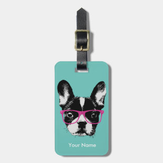 Hipster French Bulldog Custom Name Luggage Tag