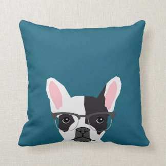 Hipster Frenchie with Glasses - French BullDog Cushion