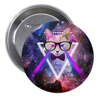 Hipster galaxy cat 7.5 cm round badge