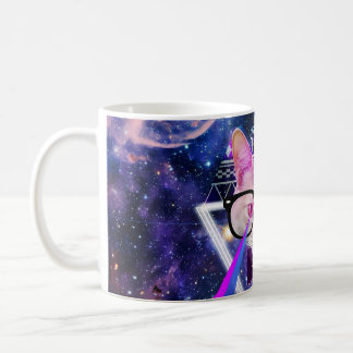 Hipster galaxy cat basic white mug
