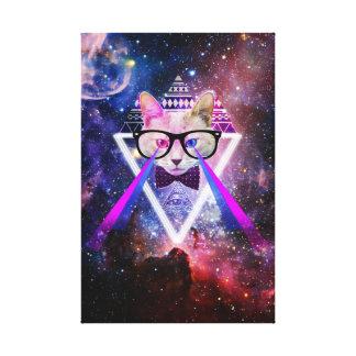 Hipster galaxy cat canvas print