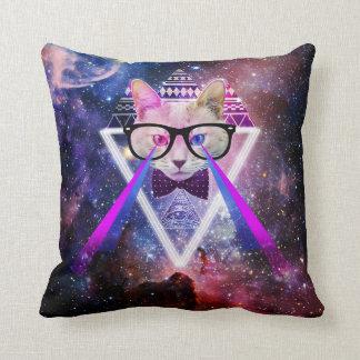 Hipster galaxy cat cushion