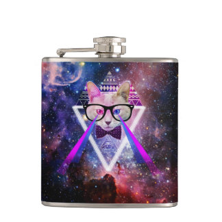 Hipster galaxy cat hip flask