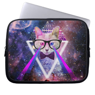 Hipster galaxy cat laptop sleeve