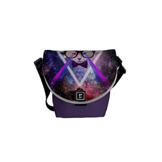 Hipster galaxy cat messenger bags
