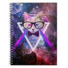 Hipster galaxy cat notebook