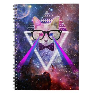 Hipster galaxy cat notebooks