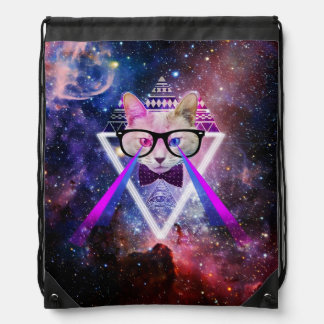 Hipster galaxy cat backpack