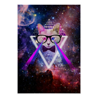 Hipster galaxy cat poster