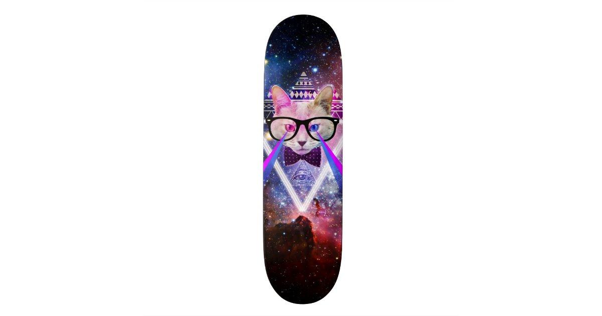 Hipster Galaxy Cat Skateboard Decks Zazzle Co Uk