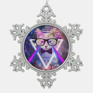 Hipster galaxy cat snowflake pewter christmas ornament