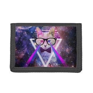 Hipster galaxy cat tri-fold wallet