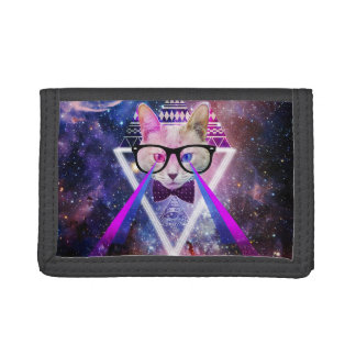 Hipster galaxy cat trifold wallets
