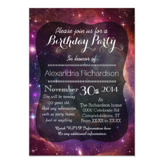 Hipster galaxy outer space birthday party 13 cm x 18 cm invitation card