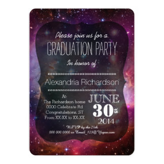 Hipster galaxy outer space Graduation party 13 Cm X 18 Cm Invitation Card