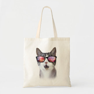 """""""Hipster Galaxy Space Cat"""" LOL Funny Tote Budget Tote Bag"""