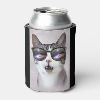"""Hipster Galaxy Space Cats"" LOL Funny Can Cooler"