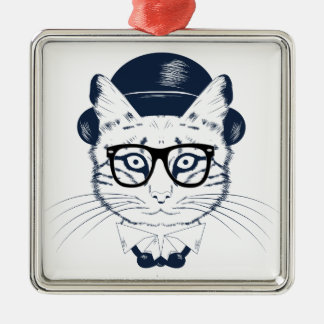Hipster Geek Cat Christmas Ornament