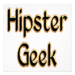 Hipster Geek Green Gold Personalized Invite