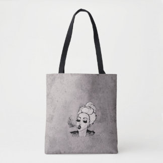 Hipster Girl Blowing Smoke black & white Tote Bag
