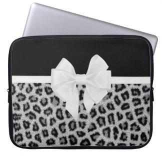 Hipster Girly Black White Animal Print And Bow Laptop Sleeve