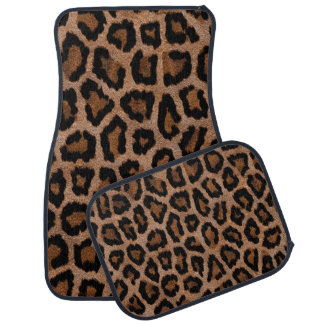 Hipster Girly Brown Black Leopard  Animal Print Car Mat