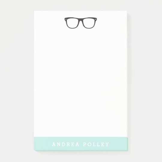Hipster Glasses and Soft Mint Blue Post-it Notes