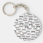 Hipster glasses basic round button key ring