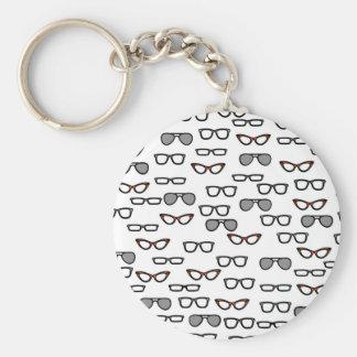 Hipster glasses key ring