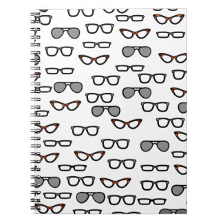 Hipster glasses spiral notebook